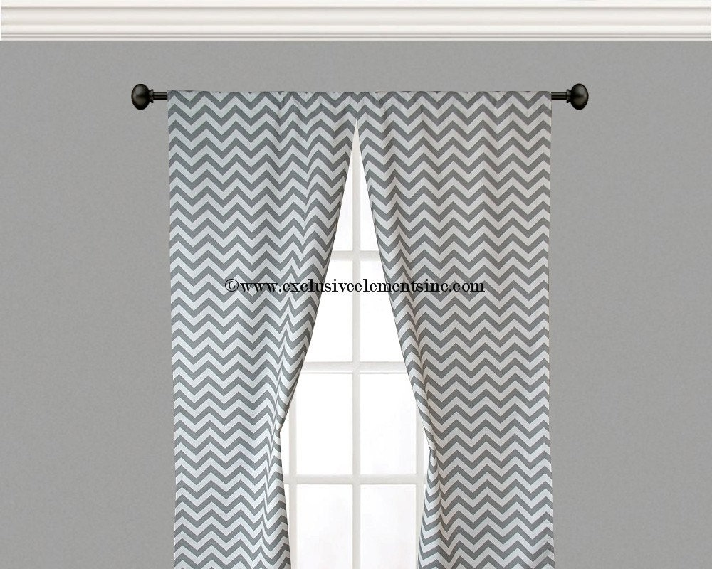 Gray Chevron Curtain Panels Gray Curtains By Exclusiveelements