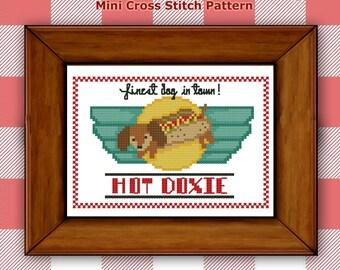 Dachshund Retro Dog Cross Stitch PDF chart