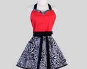 Sweetheart Retro Apron / Sexy Black and White Leopard Topped with Red trimmed in Black for a Cute Kitchen or Hostess Apron