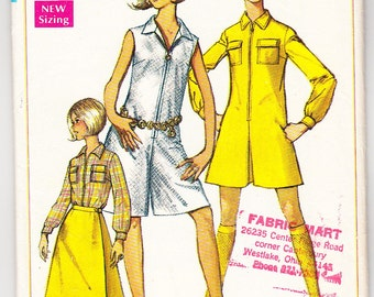 Vintage 1967 Simplicity 7487 Sewing Pattern Misses' PantDress in Two Lengths and Front-Wrap Skirt Size 8 Bust 31-1/2