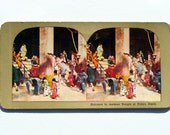 Japanese Temple Stereo View Card Toykyo Japan; Antique Asakusa Temple Stereo Card Photo