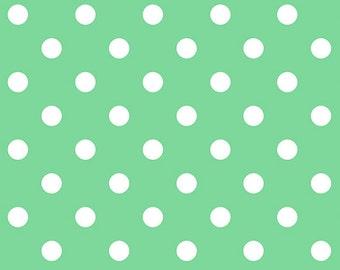 Dear Little World Cotton Fabric Quilt Gate LW1904-18D Green and White Dot