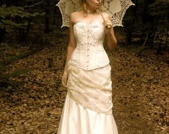 Bespoke Ivory or Black Bohemian Vintage Victorian Edwardian Bridal Corset and Fishtail Skirt Antique Wedding