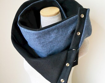 Unisex - Black and Blue Herringbone Snap Scarf