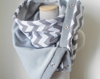 GREY and WHITE Chevron Snap Scarf