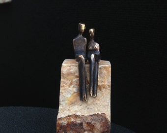 MINI BRONZE FIGURINES >> Romantic miniature bronze couple with small base.  Sculpture made in Santa Fe by Yenny Cocq.