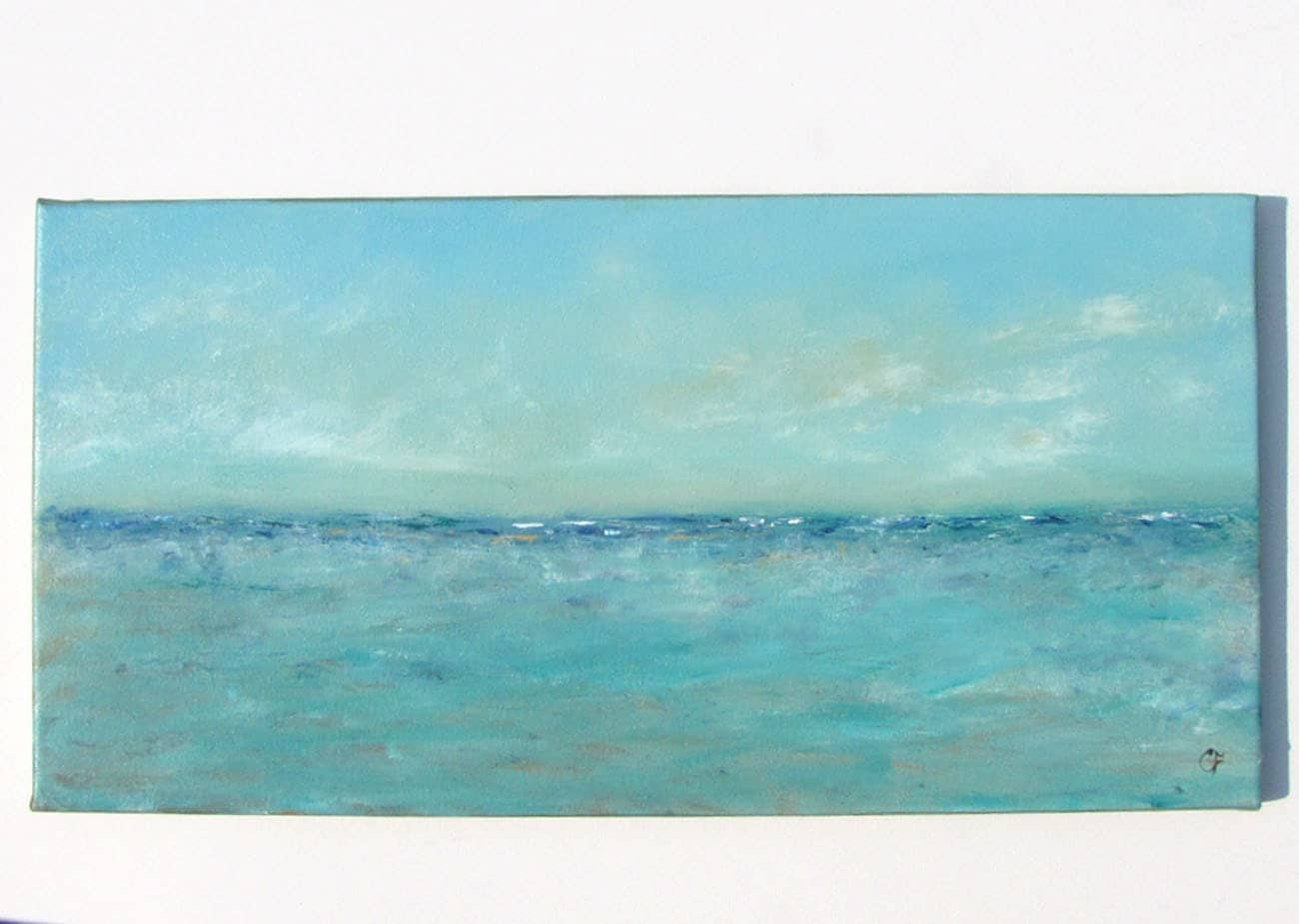 Beach painting abstract ocean oil painting serene 12x24