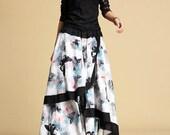 Chinese print Butterfly linen Maxi skirt (327)