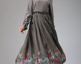 Tuberose -- ethnic print maxi dress long linen dress (684)