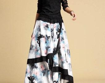 Butterfly skirt, linen skirt, long skirts for women, high waisted skirt, elastic waist skirt, custom skirt, spring skirts, ethnic skirt  327