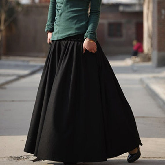 black skirt wool winter maxi skirt mm59b