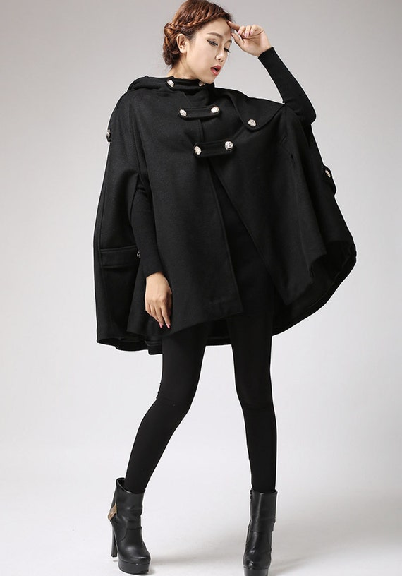 Black cape wool cape cape coat wool cloak womens cape