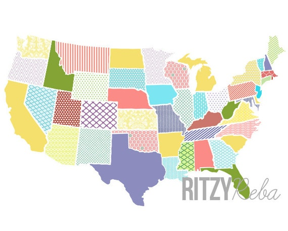 Love this colorful US map print from Ritzy Reba on etsy!