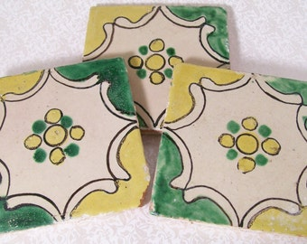 Ceramic Tiles Accent Handpainted Terracotta Yellow Green Vintage Hand Painted