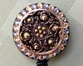 Delicate Golden Evening - Decorated ID Badge Retractable Lanyard Reel