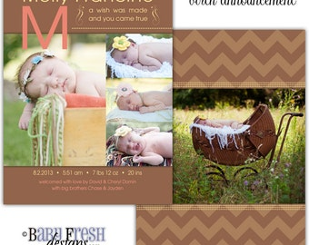 Instant Download - Photoshop PSD layered Templates for Photographers - Birth Announcement - Molly design