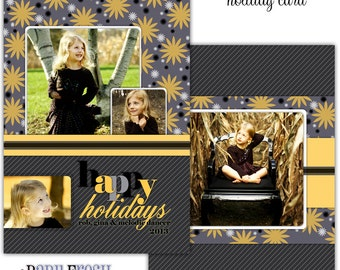 Instant Download - Photoshop PSD layered Templates for Photographers - Holiday card - Dancer family design