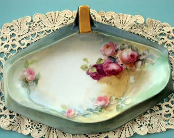 Exquisite Tressemann and Vogt Limoges France 1905 Handpainted Large Nappy or BonBon tray