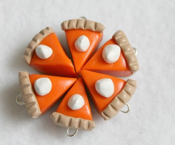 6 Pc. Pumpkin Pie Charms, Polymer Clay