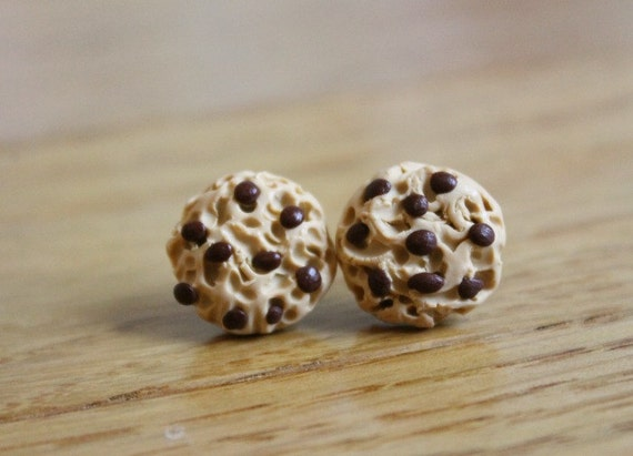 Chocolate Chip Cookie Earrings, Polymer Clay