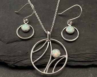 Opal Necklace, Opal Earrings- Opal Jewelry Set- Sterling Silver Jewelry Set- 2 piece set