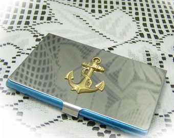 NAUTICAL Business Card Holder ANCHORS AWAY  Anchors Aweigh Silver Brass - Anchor Card Case