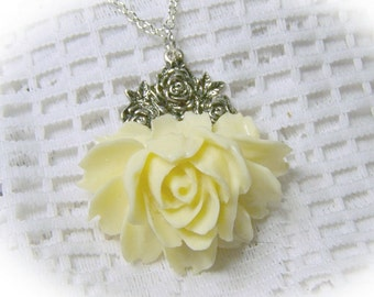 Rose Garden Necklace CREAMY VANILLA IVORY Rose - Victorian Style - Antiqued Silver - Cabbage Rose