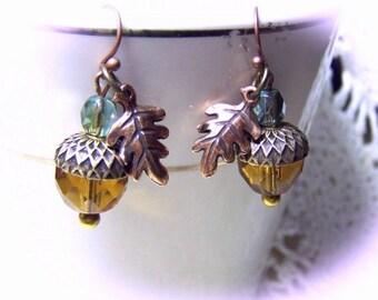 Earrings Acorn Oak Leaf  - Woodland Wedding - Antiqued Copper and Gold -  Golden Topaz Acorn Oak Leaf Crystals