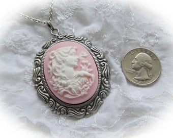 Pink Princess Cameo Necklace, Woman cameo necklace, Pink Lady Necklace, Goddess Diana Necklace, Pink & white cameo necklace, Jane Austen