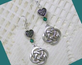 Irish Earrings - Celtic Knot Heart Earrings - Sterling Silver - Emerald Crystal - Pantone Emerald