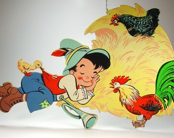 Nursery Childs Room Wall Decor, Little Boy Blue with Owl and Skunk, The Dolly Toy Co, Disney, Baby's Room