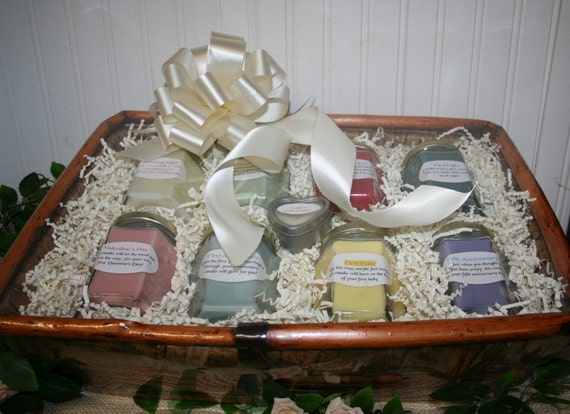 Candle Wedding Gift: Candle Bridal Basket With Candle Poem For Bridal Shower