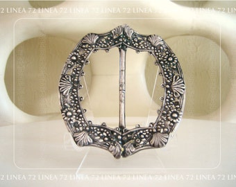 Statement Piece Victorian Era Wide Slider Style Sash Buckle in Silver