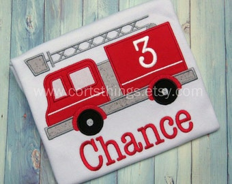 Personalized Fire Truck Applique Shirt