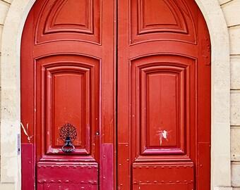 Paris Red Door Photograph, Paris Photography Print, Rouge Doors, Wanderlust Decor, Classic Parisian Doors Travel Decor, France Art Print