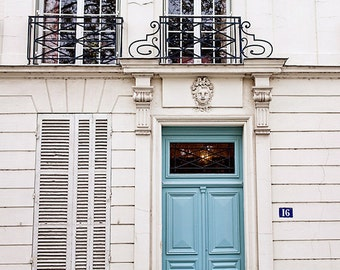 Paris Decor, Paris Photography, Paris Doors, Aqua Teal Door, Paris Print, Travel Decor, Teal and White, France Fine Art Print - No. 16