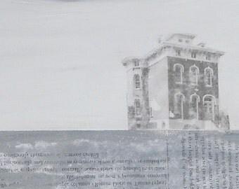 Mixed Media Old Grey House / Original Image Transfer