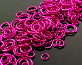 100 Handmade Fuchsia Pink Jump Rings 18, 20, 22 or 24 gauge - You Pick Size - 100% Guarantee