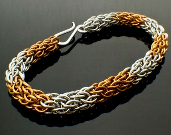 SALE Candy Cane Bracelet Kit  Advanced Chainmaille in Aluminum and Bronze, Brass or Copper