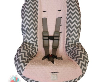Toddler Car Seat Cover Grey Chevron with Light Pink