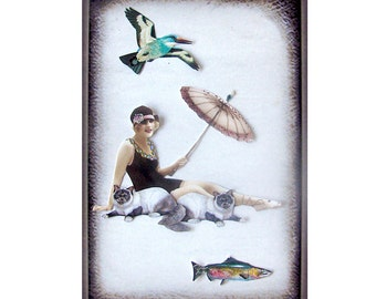 cat art pet collage vintage home decor shabby chic woman bird fish umbrella tagt team