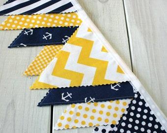 Bunting Banner, Photography Prop, Fabric Flags, Nautical Nursery Decor, Garland - Yellow, Navy Blue, Chevron, Anchors, Nautical, Dots