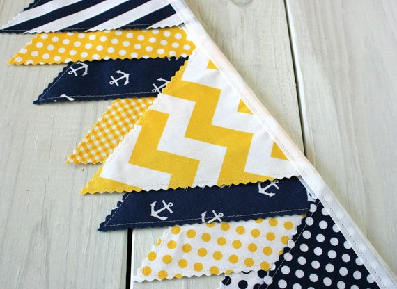 Bunting banner photography prop fabric flags by thespottedbarn for Nautical nursery fabric