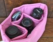 Camera Bag insert in water resistant Bright Pink for your purse, travel or diaper bag..... by Darby Mack, Made in the USA