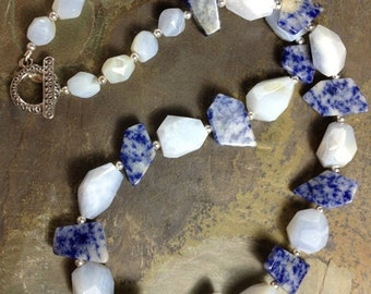Sale! Blue Lace Agate, Denim Lapis, and Sterling Silver Necklace-2153ND