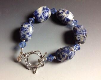 Sale! Blue Denim Lapis and Swarovski Crystal Bracelet with Sterling Silver Findings-2156BD