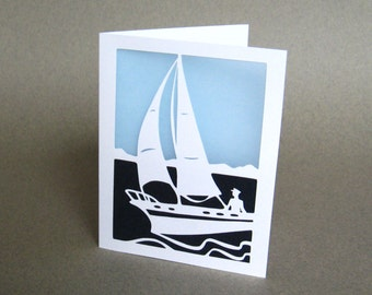 Sailboat Greeting Card Nautical Silhouette Papercutting Art White and Blue