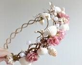 Mermaid crown, pearl crown, pink rose headband, circlet, flower hair wreath, wedding headpiece, beach wedding, hair accessories