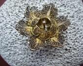 SALE Vintage Gold Wash over Silver Filigree Flower Brooch