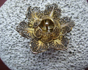 SALE Vintage Gold Wash over Silver Filigree Flower Brooch